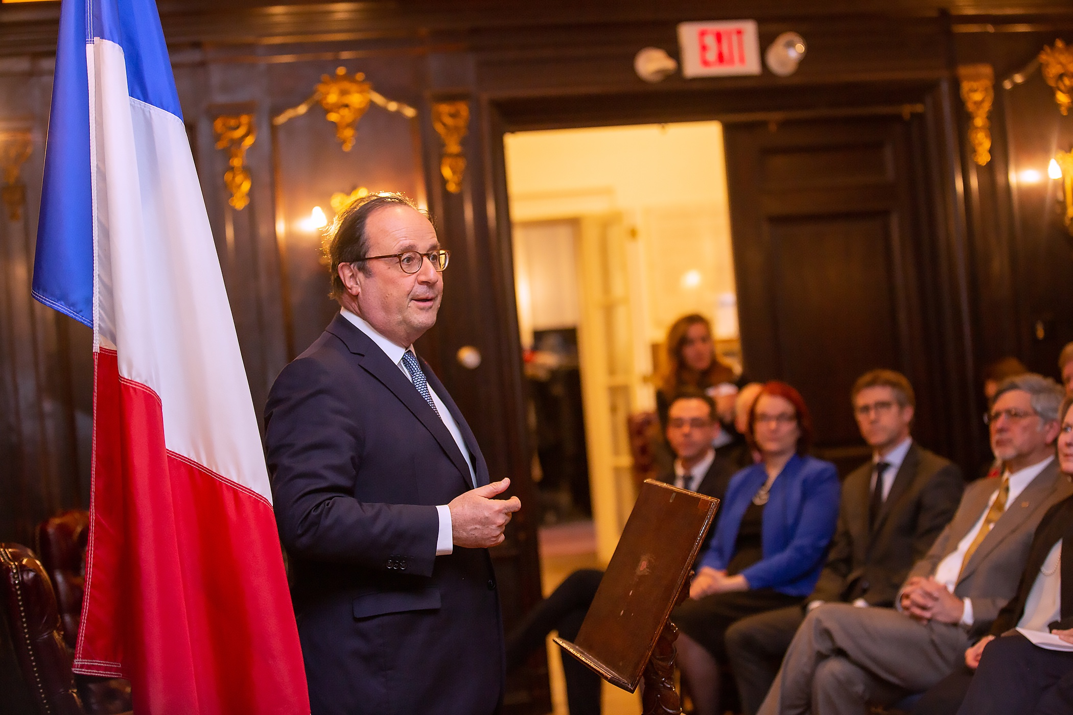 Meet and greet with former President of the French Republic François Hollande at the French Cultural Center on March 10, 2019