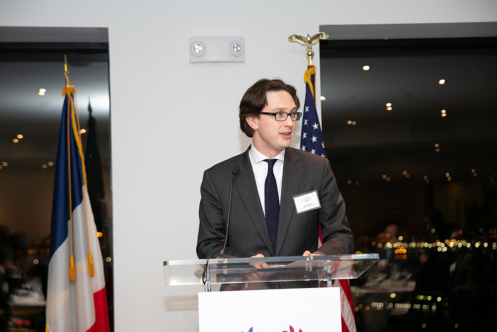 Arnaud Mentré, Consul General of France in Boston, gives a speech during FACCNE's 18th Annual French-American Business Awards