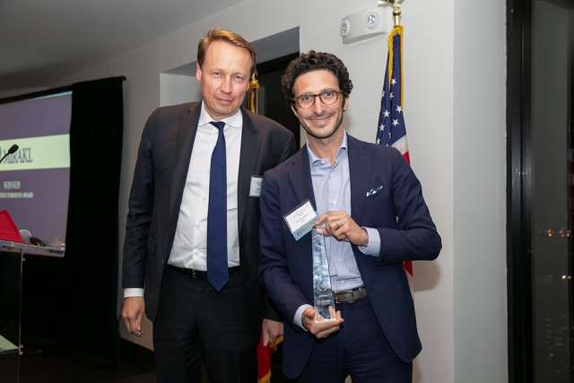 Adrien Nussenbaum, co-founder & CEO of Mirakl, the FAB Awards Large Company of the Year, poses for a picture with La French Tech's Denis Payre at FACCNE's 18th Annual French-American Business Awards.