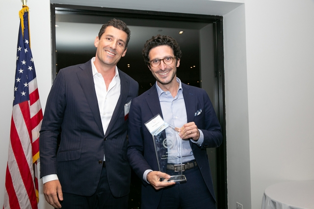 Adrien Nussenbaum, co-founder & CEO of Mirakl, the FAB Awards Large Company of the Year, poses for a picture with Olivier Safir, Senior Partner International at Pact & Partners
